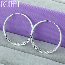 DOTEFFIL 925 Sterling Silver 40/45/50mm Round Circle Hoop Earrings For Women Wedding Engagement Party Jewelry