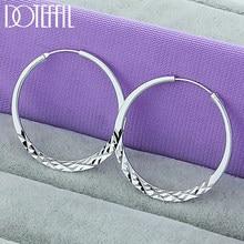 DOTEFFIL-pendientes de aro de Plata de Ley 925 para mujer, círculo redondo de 40/45/50mm, joyería para fiesta de compromiso