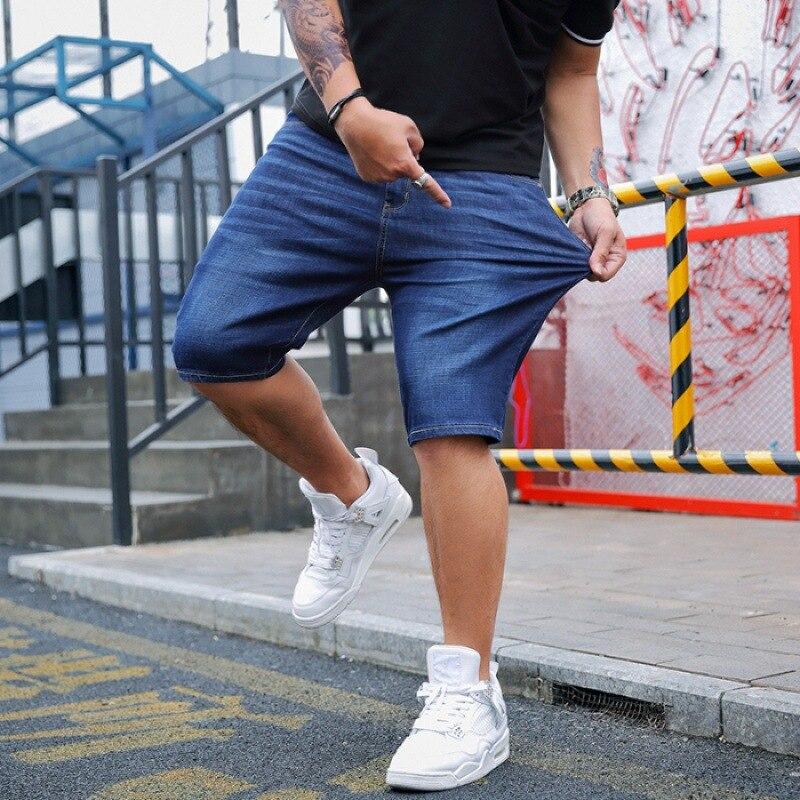Summer Popular Brand Large Size MEN'S Jeans Shorts Men's Elasticity Loose-Fit Stylish Loose Wear Straight-Cut Short Shorts Casua