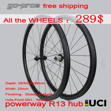 цена на Factory Sale 700c Carbon Road Bike Wheels Super Light Taiwan Powerway R13 Hub 38 50 60 88mm Carbon Rim Tubeless Clincher Tubular