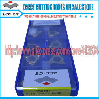 10pcs RT16.01W-1.50GM YBG201 ZCCCT Cemented Carbide CNC Threading inserts 16 ZCC External thread lathe cutter for metal cut