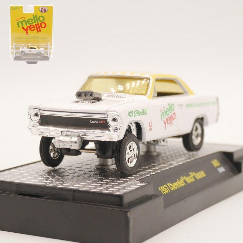 M2 1/64 1967 chevrolet nova gasser diecast modelo de carro brinquedo de liga