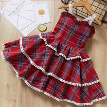 Toddle Girl Lolita Dress Palace Princess Costume Retro Plaid European and American Style Baby Girls Dress Little Girls Dresses retro cut out plaid fit and flare dress