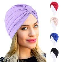 Foulard musulman de couleur unie pour femmes, Turban noué, chapeau de sommeil, Hijab intérieur, Bonnet, couvre-tête rond
