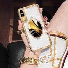 Luxe Bling Paillettes Coque En Diamant Avec Sangle Pour iPhone12 8 7 6 6S Plus XR XS Max Couverture Femmes Maquillage Miroir Coques De Téléphone Coque