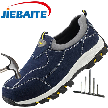 Men Safety Shoes Construction Shoes Steel Toe Work Boots Comfortable Indestructible Leather Shoes Puncture Proof