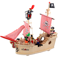Pirates of the Caribbean Wooden Simulation Pearl Ship Model Child Puzzle 3D Wooden Toy Kid Gift Boat Toy