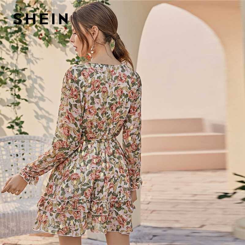 SHEIN Deep V Neck Floral Print Boho Dress With Belt Women Spring Flounce Sleeve High Waist Tiered Layer Hem Frill Short Dresses 2