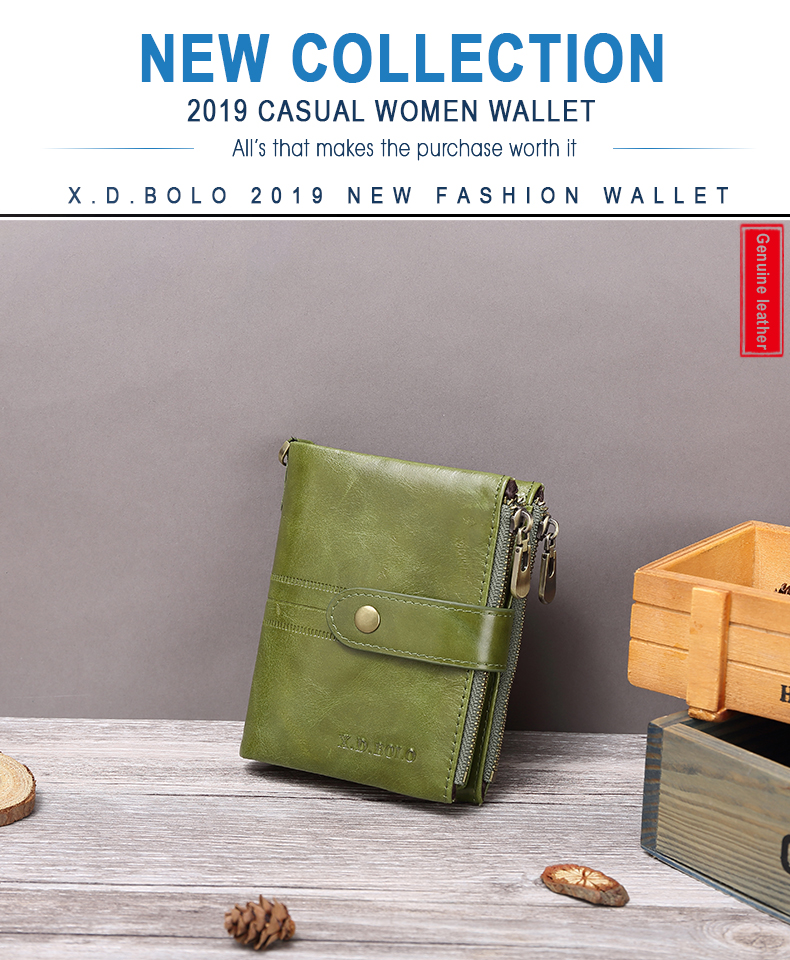 mulher do vintage carteira de couro genuíno