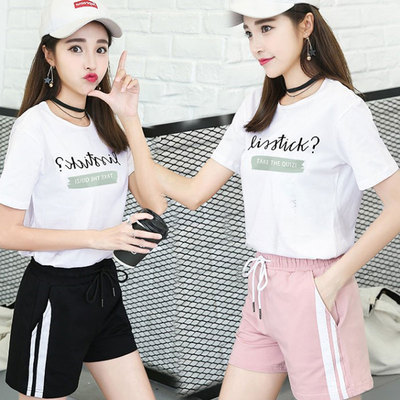 Sports WOMEN'S Suit Summer Short Sleeve Shorts 2019 New Style Fashion Korean-style Students Hipster Loose Casual Two-Piece Set