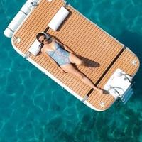 3x2x0.2m Teak Wood grain Drop stitch inflatable floating island dock inflatable water mat platform