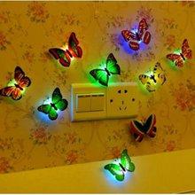 Светодиодный бабочка ночной Светильник креативные красочные 3D стерео симуляция бабочки настенные декоративные наклейки на стену светодиодный Ночной светильник