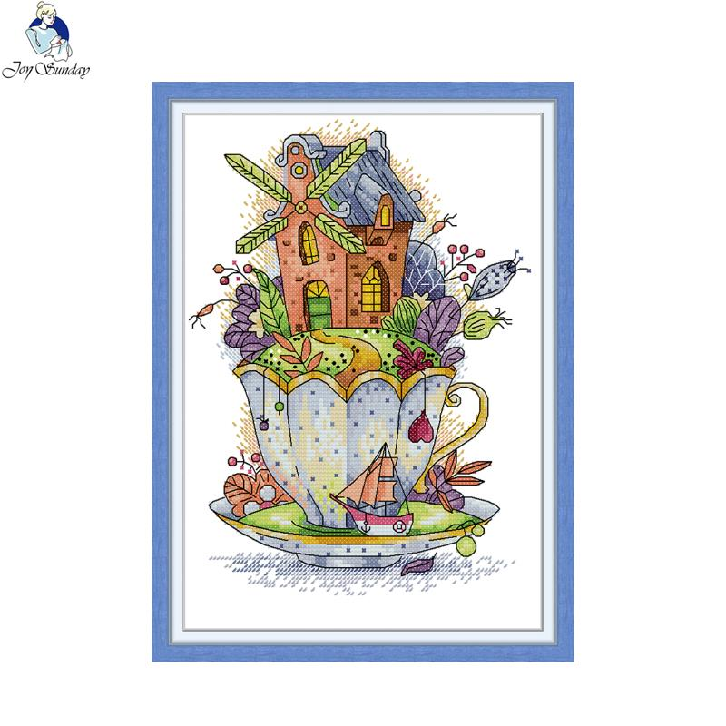 The little house in the cup Fantasy landscape cross stitch kit 14ct 11ct embroidery DIY handmade sewing home decoration crafts