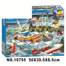 Compatible With legoings 60167 Coast Guard Headquarters Building Blocks City Helicopter Ship Car Deck Shark Model Bricks 10755(China)