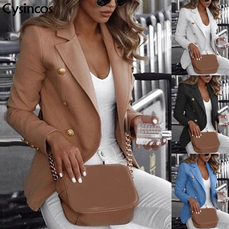 Cysincos Blazers Women 2019 Fashion Spring Autumn Casual Jacket Female Office Lady Slim Suit Button Business Notched Blazer Coat