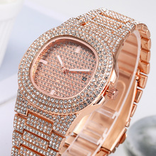 Reloj de pulsera de cuarzo redondo de lujo para Mujer, Reloj de pulsera plateado brillante dorado, el mejor regalo para Mujer