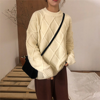 Ailegogo Winter Women Thickness Warm Sweater Casual Female Argyle Knitted Pullovers Solid Color Loose Ladies Knitwear Tops 2