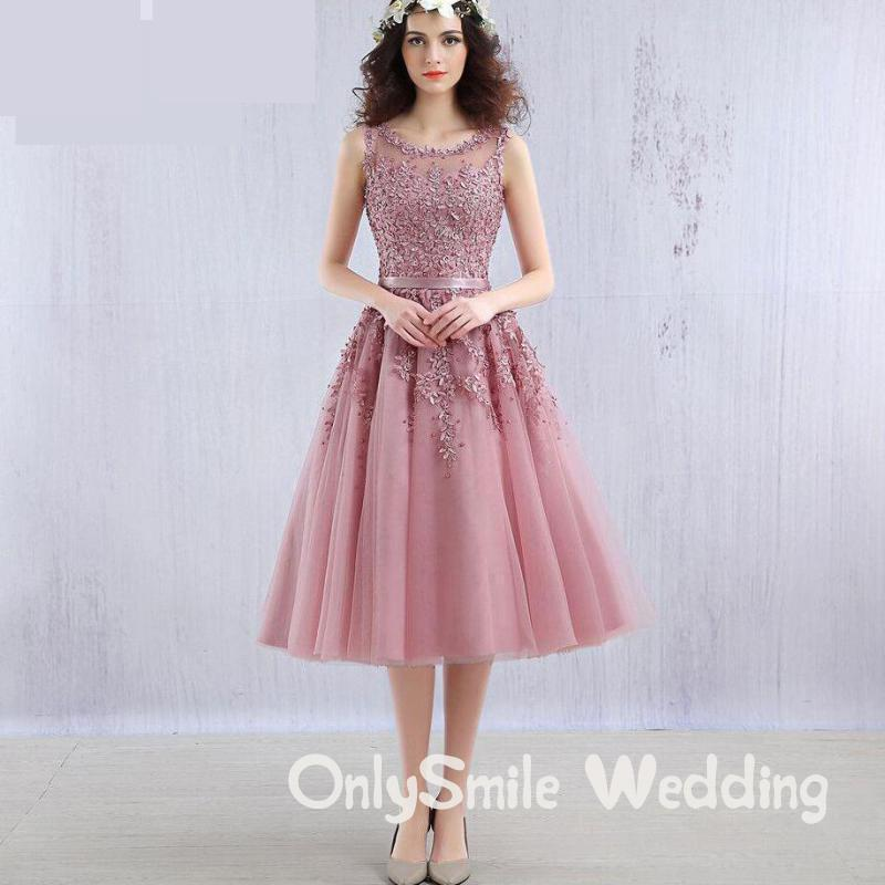Pink Party Dress Short Beaded Lace Appliques Elegent Prom Dress 2019 Evening Dresses Short Tulle Cheap Junior Homecoming Dresses
