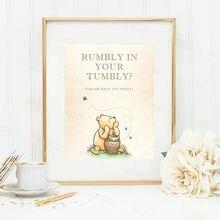 Classic Pooh Quote Schilderen Print Rumbly In Uw Tumbly Cake Dessert Tafel Teken Canvas Poster Baby Shower Verjaardag Party Decor