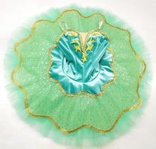 Professional Ballet Tutu Girls Green gold Esmeralda Classical Costume Pancake Stage Attire Adult
