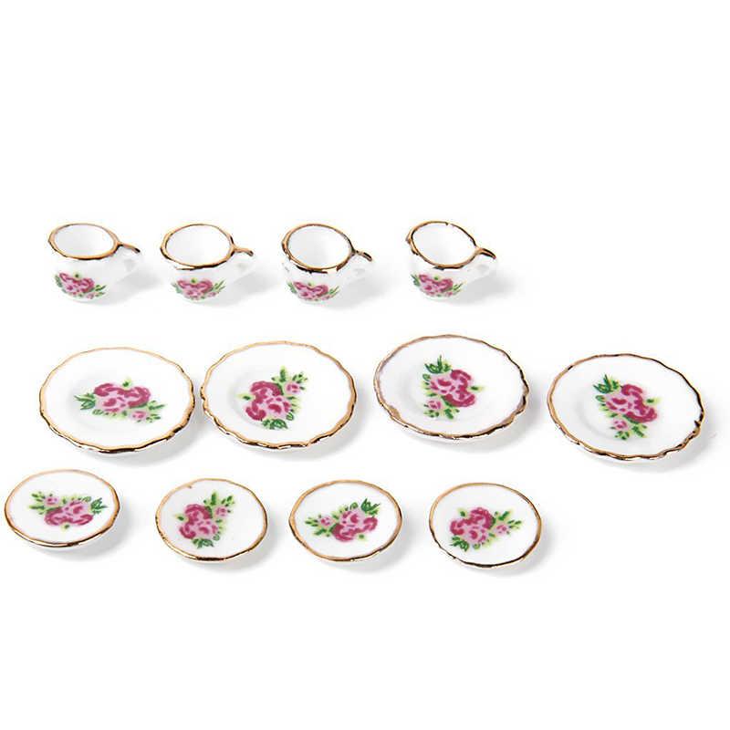 15 фарфоровый набор из… предметов чайный сервиз кукольный домик миниатюрные продукты Китайские розы блюда и чашка
