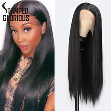 Stamped Glorious Long Black Lace Front Wig For America Women