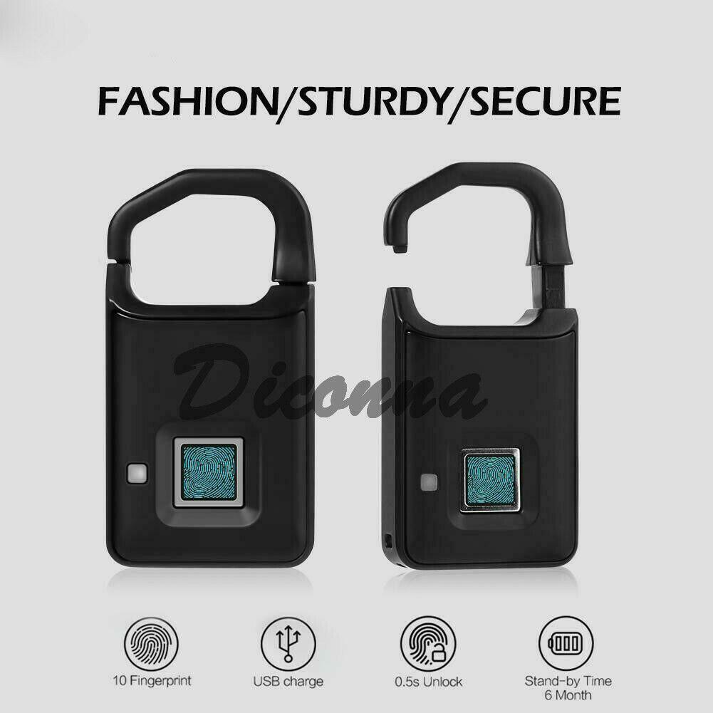 Portable Smart Fingerprint Padlock Keyless Door Lock Waterproof Anti-theft USB Charge