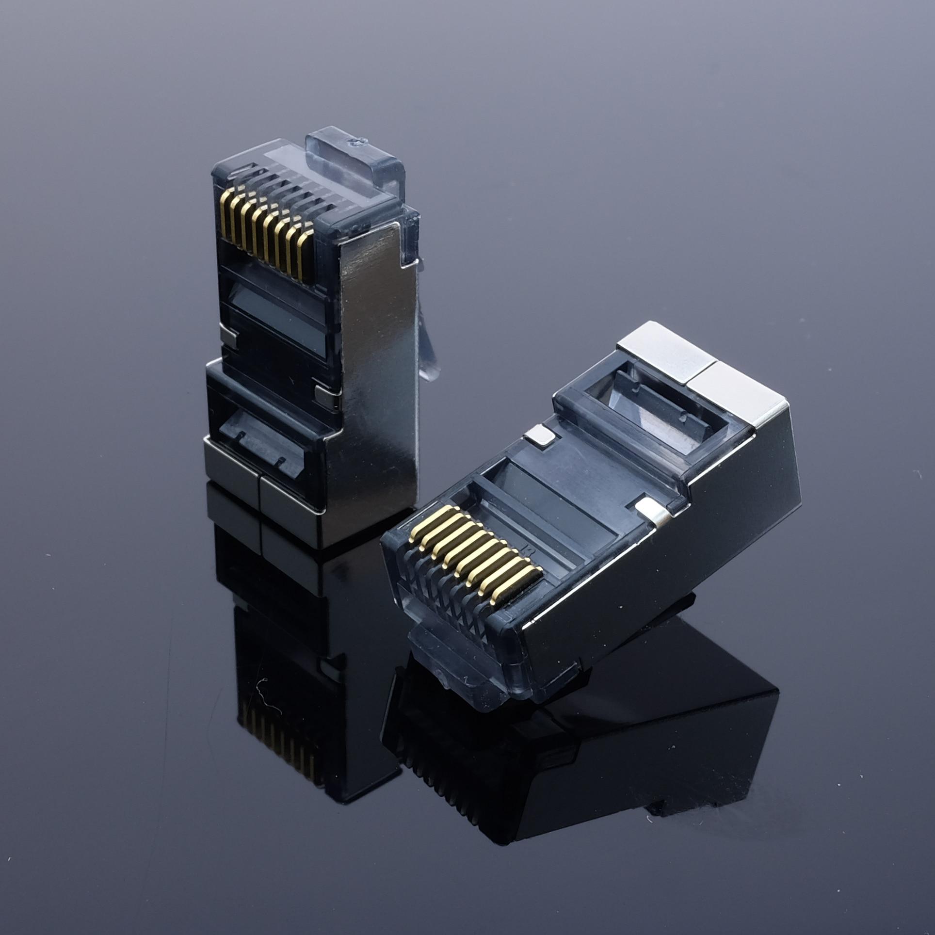 Купить с кэшбэком 50pcs Blue Cat 6 rj45 connector cat6 network connector rj45 plug split type 8P8C stp metal shielded modular terminals HY1532