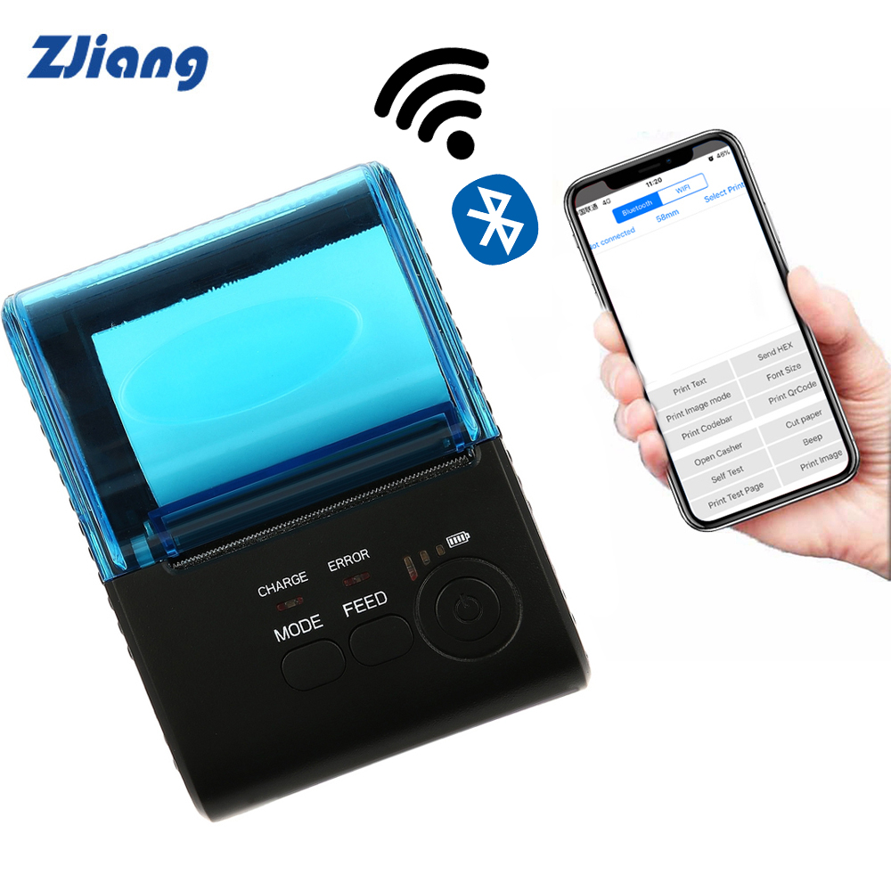 Zjiang Mini 58mm Bluetooth Printer Portable Thermal Receipt Printer For Mobile Phone Android IOS Windows Pocket Bill