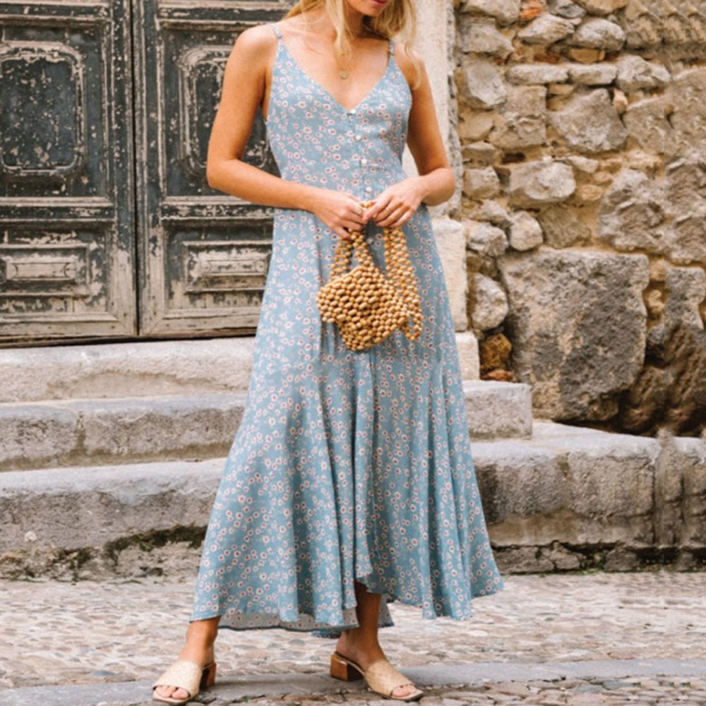 Summer Female Sleeveless Floral Maxi Dress V-Neck Ankle-Length Spaghetti Strap Sundress Women Bohemian Beachwear Travel Look