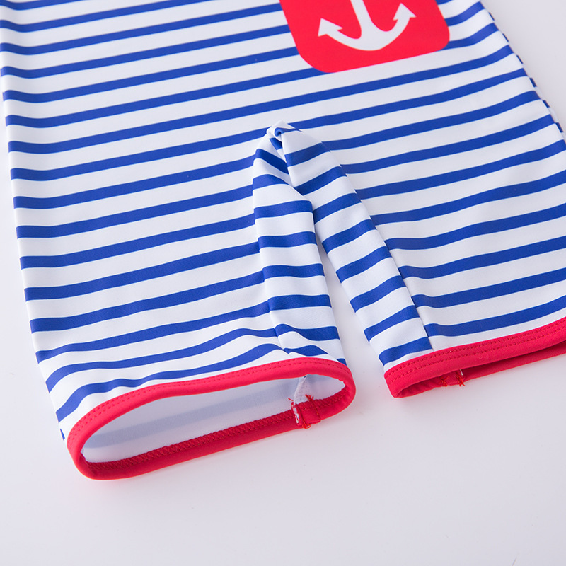 Boys' Cotton One-piece Swimsuit Blue And White Stripe Navy With Hat-Children Hot Springs Bathing Suit