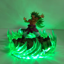 Dragon ball z figura de ação broly super saiyan 3 energia verde led efeito cena anime dragon ball super collectible modelo brinquedos dbz(China)