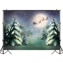 Christmas Party Backdrop Night Moon Santa Claus Elk Gifts Photography Backdrops Jungle Forest Kids Children Photo Background