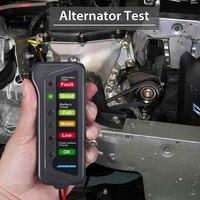 Testador de bateria de carro com dois clipes 12 v bateria digital alternador testador 6 display led para carro atv quad acessórios do carro