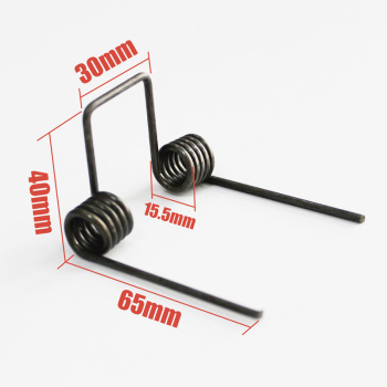 Double torsion spring,wire dia 2.5mm OD. 15.5mm feet length 65mm 5 coils