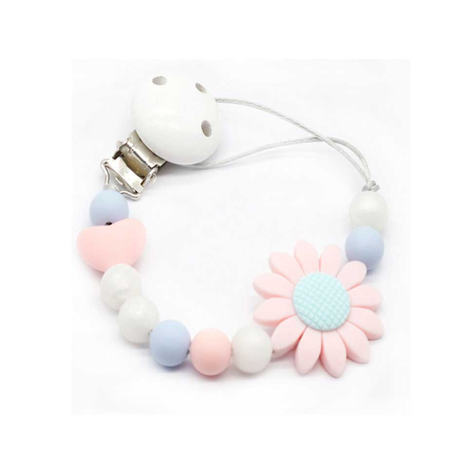 Cute Silicone Beads Baby Pacifier Clip Chain Holder Nipple Dummy Soother Strap