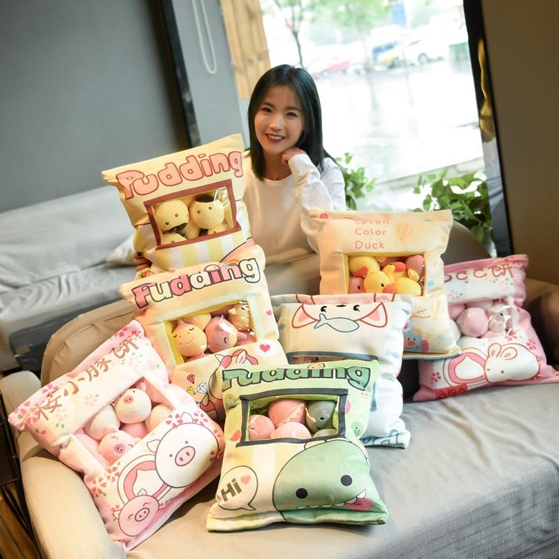 A Plushie Bag Pudding Toys 8 Pcs Mini Animals Doll Dog Cat Pig Plush Pillow Gift A Creative Pillow