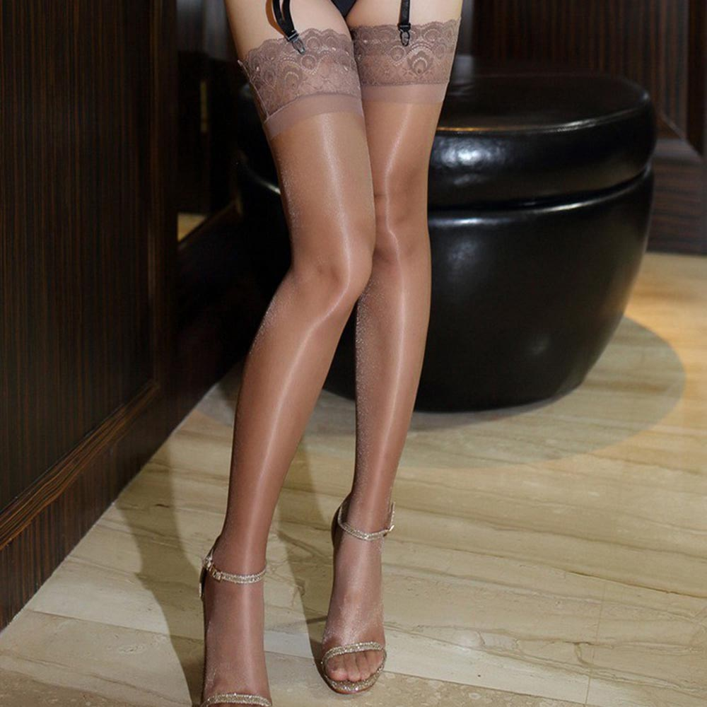 Sexy Womens Stay Up Stockings Oil Shine Thigh-high Stockings Glitter Legs Anti-slip Peacock Lace Top Over The Knee Stockings