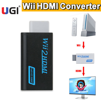 UGI 1080P Wii2HDMI Wii to HDMI  Wii Input to HDMI Output AV Adapter Jack Converter Audio 3.5mm Video Connector FHD Full HD HDTV