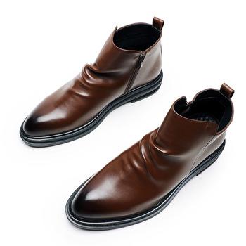 Brytyjskie modne buty męskie Napa wzór Vintage szpiczaste buty z palcami Plus duże rozmiary 46 47 48 boczne zamki modne buty motocyklowe tanie i dobre opinie monstceler ANKLE W paski Szpiczasty nosek RUBBER Wiosna jesień Niska (1 cm-3 cm) Pasuje prawda na wymiar weź swój normalny rozmiar