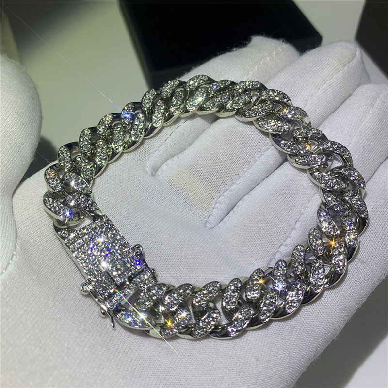 Hip Hop Fashion Iced Out Luxury Bracelets High Gold Cuban Link Chain Miami Bracelet Hip Hop Jewelry