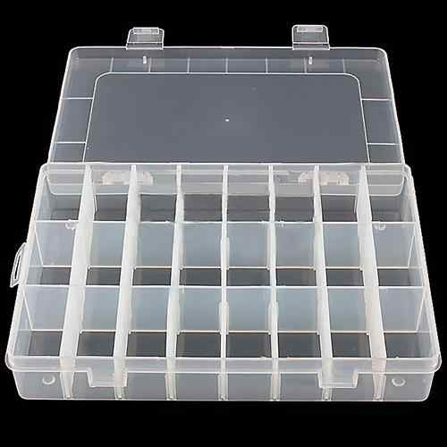 Clear Jewelry Storage Box Container Case Adjustable 24-Compartment Earring Ring Box