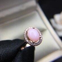 Meibapj 6 ミリメートル * 8 ミリメートルナチュラルピンクオパール宝石のファッションリング女性のためのリアル 925 スターリングシルバーチャーム結婚式の宝石類