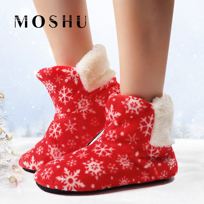 Fashion Slippers Women Warm Flip Flops Snowflake Fur Slides Winter Home Shoes Christmas Lidies Slippers Soft Zapatos De Mujer