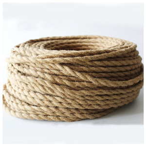 NEW Vintage Rope Twisted Electrical Wire Hemp Rope Woven Textile Wire Twisted Cable Braided Retro Pendant Light Cord 2*0.75mm