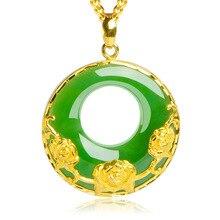 "Collier avec pendentif en Jade vert ""Good Luck"", en or Sterling 18k"