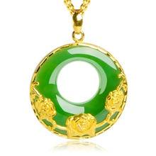 "Grün Jade ""Gute Luck"" Schmetterling Anhänger Halskette in 18k Gold Über Sterling"