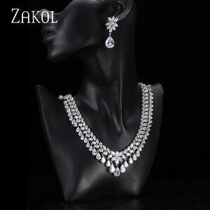 Image 2 - ZAKOL femmes élégantes et de luxe goutte deau forme CZ zircone boucles doreilles collier ensemble de bijoux de mariage FSSP110
