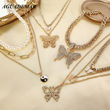 2021 Iced Out Crystal Butterfly Collier Necklace Set For Women Multilayer Pearl Tennis Choker Clavicle Chain Bohemia Jewelry NEW