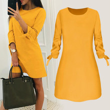 2019 Spring New Fashion Solid Color Dress Casual O-Neck Loose Dresses